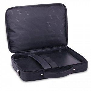 """Сумка деловая BRAUBERG с отделением для ноутбука 17,3"""", """"Sidney"""", откидная крышка, черная, 44х34х6 см, 240449"""