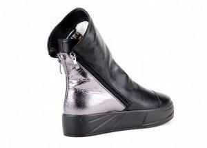 Ботинки кожа черный/никель демисезон