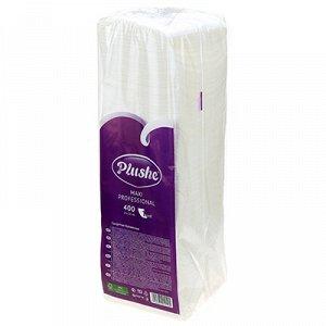 """Салфетки бумажные 24х24см """"Plushe Maxi Professional"""", 1 слойные, 400 штук в упаковке, сплошное тиснение, белый (Россия)"""