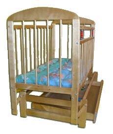 """Кроватка детская """"Мишутка 11""""  маятник с ящиком темная"""