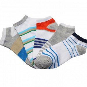 Носочки стильные яркие (низкие), полоса принт