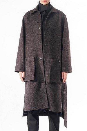ПАЛЬТО Современное дизайнерское длинное пальто из шерсти .Отложной воротник,два внешних объемных кармана,застежка на кнопки.Асимметричная длина с разрезами по бокам. Демисезон от -10 до +10.