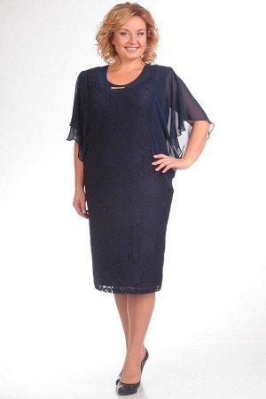 Платье Платье Pretty 148 темно-синее  Состав ткани: ПЭ-95%; Спандекс-5%;  Рост: 164 см.  Это стильное платье станет идеальным вариантом для дам с любой фигурой. Красивый гипюр, летящий шифоновый рука