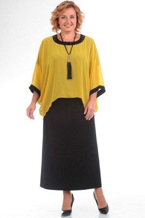 Платье Платье Pretty 571 желтое/черное  Состав ткани: ПЭ-96%; Спандекс-4%;  Рост: 164 см.  Полуприлегающее платье из легкого трикотажа расширено по низу. В округлой горловине платье скреплено с прост