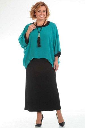 Платье Платье Pretty 571 бирюза/черное  Состав ткани: ПЭ-96%; Спандекс-4%;  Рост: 164 см.  Полуприлегающее платье из легкого трикотажа расширено по низу. В округлой горловине платье скреплено с прост