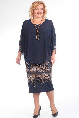 Платье Платье Pretty 622  Состав ткани: ПЭ-96%; Спандекс-4%;  Рост: 164 см.  Нижнее платье из трикотажа. В округлой горловине закреплена накидка из шифона с цельновыкроенными рукавами. Срок исполнени