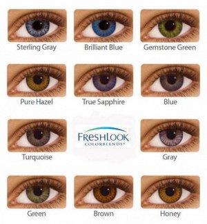 Оттеночные цветные контактные линзы FreshLook ColorBlends 2 линзы Только нулёвки