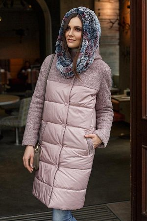 Пальто-плащ комбинированный с кокетками пудра