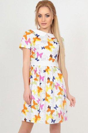 Платье 2559.9 белое с оранжевым