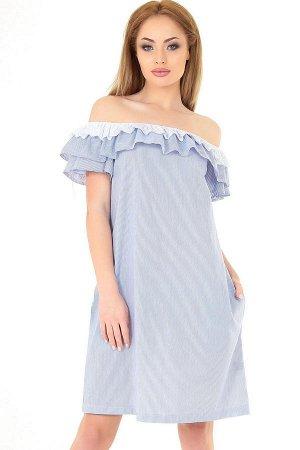 Платье 2563.93 бело-голубая полоска