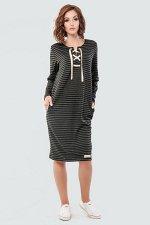 Платье 2615-1.40 серо-черное