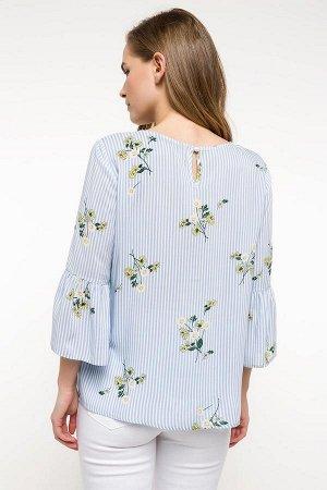 Блуза синяя полосатая