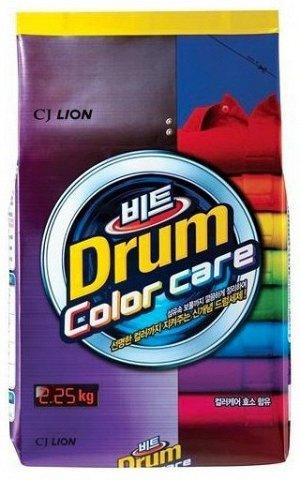LION Концентрированный стиральный порошок «BEAT DRUM COLOR CARE» защита цвета (для цветного белья) для автоматической стирки,мягкая упаковка,2,25 кг.