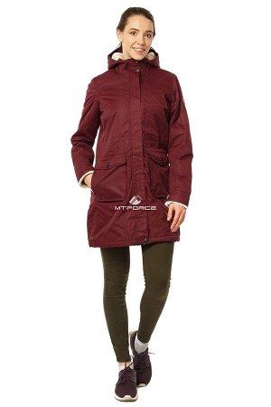 Куртка парка демисезонная женская ПИСК сезона бордового цвета