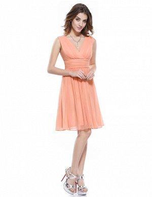 Коралловое короткое летнее платье