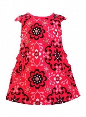 Сарафан Материал: вельвет. Цвет малиновый. С ярким цветочным принтом, имеются два кармана накладных, спинка до середины на пуговках
