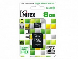 Карта памяти MicroSDHC MIREX 8GB cl10 + SD, 13613-AD10SD08 recommended