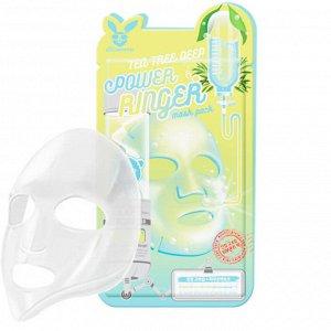 Elizavecca Tea Tree Deep Power Ringer Mask Pack Тканевая маска для проблемной кожи лица с экстрактом зеленого чая 23мл