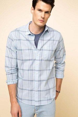 Рубашка / сорочка мужская голубая в клетку