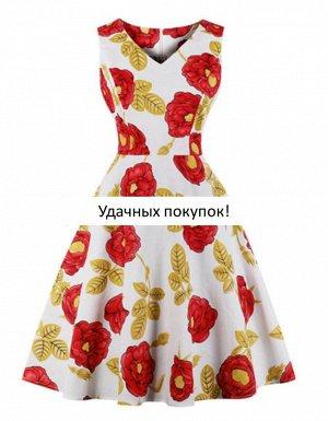Платье цвет: КРАСНЫЙ ЦВЕТОК НА БЕЛОМ
