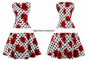 Платье цвет: КРАСНАЯ РОЗА+ЧЕРНЫЙ ГОРОХ