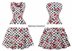 Платье цвет: ВИШНЯ+ЧЕРНЫЙ ГОРОХ