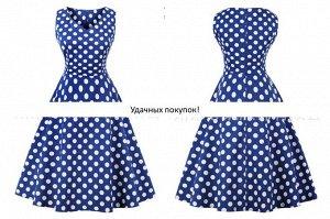 Платье цвет: БЕЛЫЙ ГОРОХ НА СИНЕМ