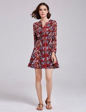 Красное мини платье с цветочным принтом, оборками и длинными рукавами