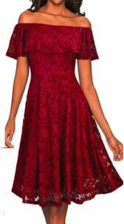 Кружевное платье с воланом на плечах Цвет: БОРДО