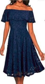 Кружевное платье с воланом на плечах Цвет: ТЕМНО-СИНИЙ