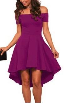 Асимметричное платье с открытыми плечами и короткими рукавами Цвет: ФИОЛЕТОВЫЙ