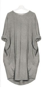 Платье-балахон с короткими рукавами Цвет: СЕРЫЙ
