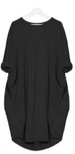 Платье-балахон с короткими рукавами Цвет: ЧЕРНЫЙ