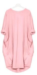 Платье-балахон с короткими рукавами Цвет: РОЗОВЫЙ