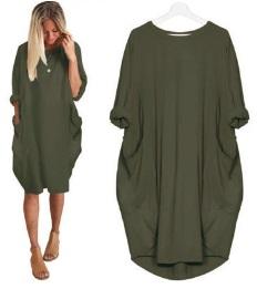 Платье-балахон с короткими рукавами Цвет: ТЕМНО-ЗЕЛЕНЫЙ
