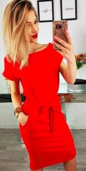 """Платье с вырезом """"лодочка"""" и короткими рукавами Цвет: КРАСНЫЙ"""