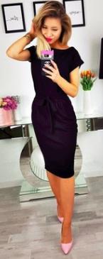 """Платье с вырезом """"лодочка"""" и короткими рукавами Цвет: ЧЕРНЫЙ"""