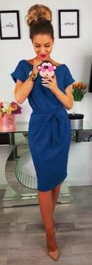 """Платье с вырезом """"лодочка"""" и короткими рукавами Цвет: СИНИЙ"""