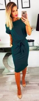 """Платье с вырезом """"лодочка"""" и короткими рукавами Цвет: ТЕМНО-ЗЕЛЕНЫЙ"""
