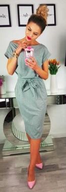 """Платье с вырезом """"лодочка"""" и короткими рукавами Цвет: СВЕТЛО-СЕРЫЙ"""