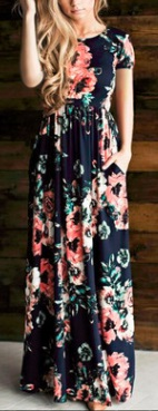 Платье-макси с цветочным принтом и короткими рукавами Цвет: ТЕМНО-СИНИЙ