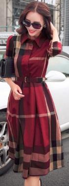 Платье-миди с длинными рукавами Цвет: БОРДО