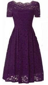 Кружевное платье с короткими рукавами Цвет: ФИОЛЕТОВЫЙ