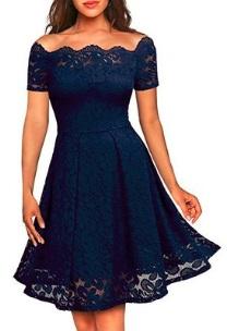 Кружевное платье с короткими рукавами Цвет: ТЕМНО-СИНИЙ