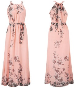 Платье в пол с цветочным принтом без рукавов Цвет: РОЗОВЫЙ