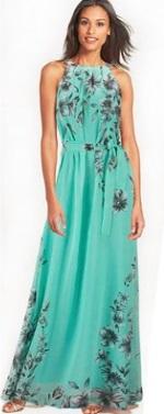 Платье в пол с цветочным принтом без рукавов Цвет: ЗЕЛЕНЫЙ