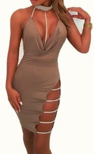 Платье с открытой спиной глубоким декольте и боковым разрезом Цвет: СВЕТЛО-КОРИЧНЕВЫЙ