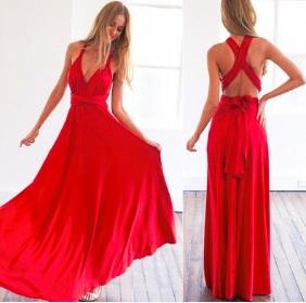 Платье в пол без рукавов и с открытой спиной Цвет: КРАСНЫЙ