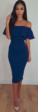 Облегающее платье-миди с воланом на плечах Цвет: СИНИЙ