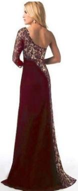 Платье в пол на одно плечо и с разрезом Цвет: БОРДО
